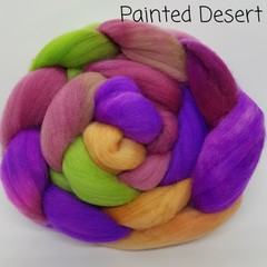 Hand Painted Wool Roving- PAINTED DESERT