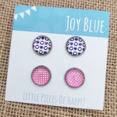 Glass dome stud earrings 2 pack