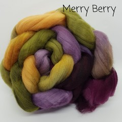 Hand Painted Wool Roving- MERRY BERRY