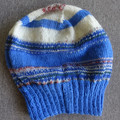Hand knitted blue and white fairisle wool blend beanie, brand new, never worn