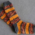 Hand knitted autumn 4 ply wool blend socks, brand new, never worn.