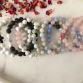 Lava stone and Howlite Beaded Bracelet