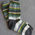 Hand knitted winter 4 ply wool blend socks, brand new, never worn.