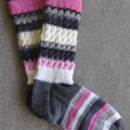 Hand knitted 4 ply pink, grey and white woollen socks, brand new, never worn.