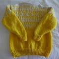 Hand knitted yellow fair isle chunky pure wool sweater, 65 cm chest