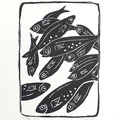School of Fish linoprint - Black and White Art - Handprinted Linocut