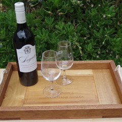 Rustic Wine Panel Recycled Timber Tray - Elderton Wines Barossa Valley
