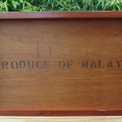 "Classic Recycled Tea Chest Panel Tray - ""Produce of Malaya"""