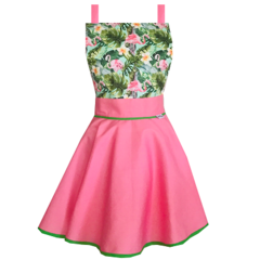 Flamingo Vintage Style Pink and Green Women's Kitchen Apron - Christmas Gifts