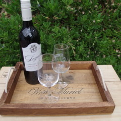 Rustic Wine Panel Recycled Timber Tray - Vina Muriel Gran Reserva Wooden Tray