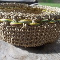 Crocheted bowl made from waxed cotton, natural biege with coloured trim