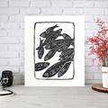 School of Fish linoprint - Black and White Art - Handprinted Linocut