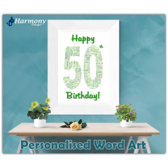 Personalised Word Art ~ 'Happy Birthday' ~ Unique Gift ~ Customisable ~ HDA00014