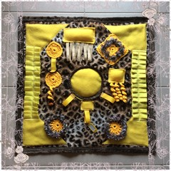 Yellow Dementia Alzheimers Fidget Quilt Lap Sensory Blanket Mat 60cm x 60cm