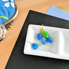 Blueberry Ensemble Drop Earrings (Blue) - Handmade Kawaii Flowers