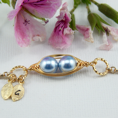 two peas in a pod Gold Personalized bracelet Choose Your Color Pearls