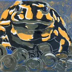 PRECIOUS - CORROBOREE FROG GUARDING EGGS Original Monoprint and Ink
