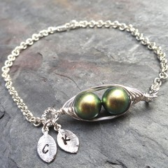 2 Peas In A Pod Silver Personalized Bracelet Choose Your Colour Pearls