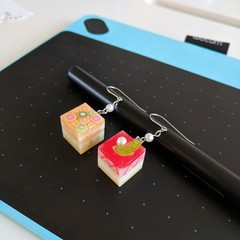 Cube Cake Earrings - Handmade cake slice earrings - cute mismatched earrings
