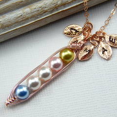 5 peas in a pod personalized necklace. Pick And Mix Your Color Pearls