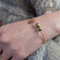 Two Peas in a Pod Rose Gold bracelet, Choose Your Pearl Colour And Initials