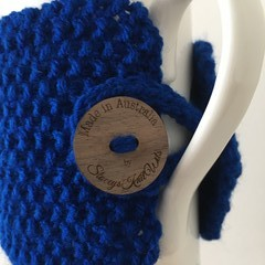 Handmade blue cup cozy or mug, tea cosy, coffee cozy, blue mug cozy, blue tea co