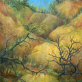 THE CALICO TREES Original Mixed Media on Canvas Board
