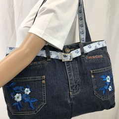 Upcycled Denim Hand Bag By Juleonie with Free Delivery
