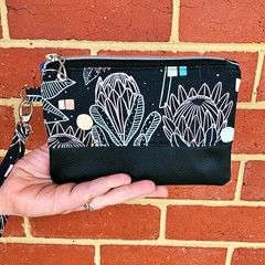Protea Black - Regular Wristlet with leather accent