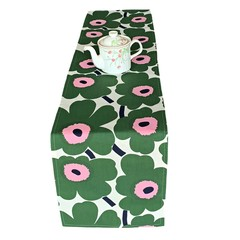 Retro Floral Table Runner. Poppy Flower.