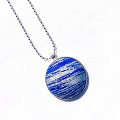 Silver Plated Pendant Necklace - Blue and silver