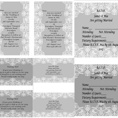 GREY AND WHITE LACE WEDDING STATIONARY PACKAGE