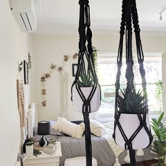 Macrame Plant Hangers | Black  Plant Hanger - Small, Large, Duo, Double or Trio