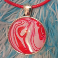 MARBLED ROUND PENDANT - Red White and Silver Marbling Under a Glass Cabachon