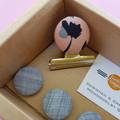 Pink Flower & Denim Magnet Gift Box Set