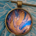 MARBLED ROUND PENDANT Blue & Gold - nail polish marbling under a glass cabachon