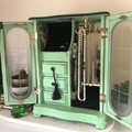 Jewellery Box - Jewelry Armoire - Vintage - Revamped - Green