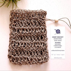 Hemp Crochet Drawstring Soap Saver Sack - Soap Pouch - Reusable