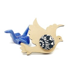 Kimono Dove Brooch - Black and White