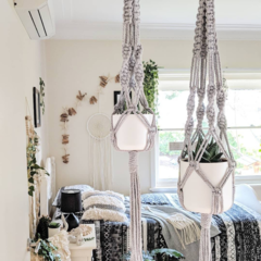 Macrame Plant Hangers - Grey - Small, Large or Duo | Macrame Pot Holder