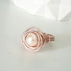 ROSE Wire Wrapped Ring with fresh water pearl - beautifully handmade - Free ship