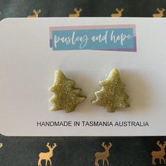 Gold Glitter Xmas Tree Studs