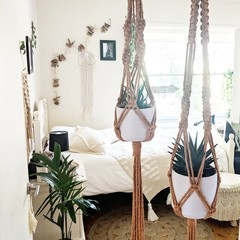 Macrame Plant Hangers - Mustard - Small, Large or Duo | Macrame Pot Holder