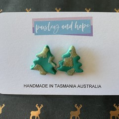 Green & Gold Glitter Xmas Tree Studs