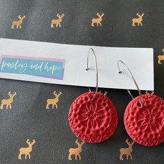 Red polymer clay hoops