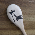 Wood Burnt Fox Wooden Spoon