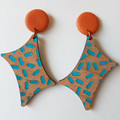 Curved Rhombus wood & polymer clay statement earrings