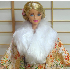 doll clothes Japanese formal kimono shawl for Barbie and FR dolls handmade