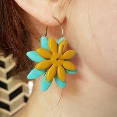 Large Daisy Hoops mustard yellow