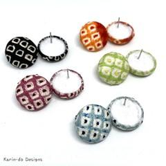 Kimono (Shibori style) button earrings  - Five different colours